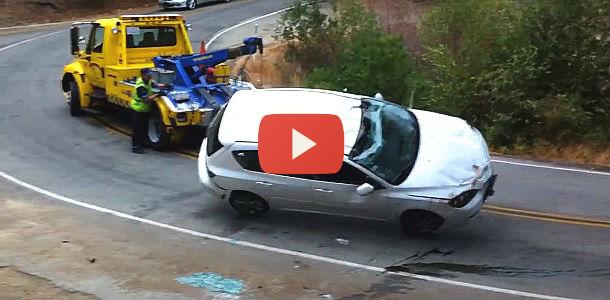El peor día de este conductor de grúa, en vídeo