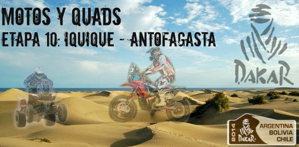 Dakar 2014: etapa 10: iquique – antofagasta (motos y quads)