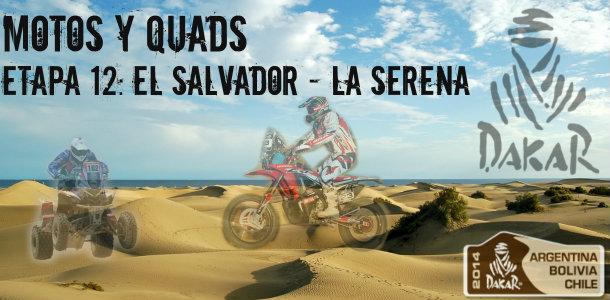 Dakar 2014: etapa 12: el salvador – la serena (motos y quads)
