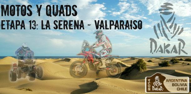 Dakar 2014: etapa 13: la serena – valparaiso (motos y quads)