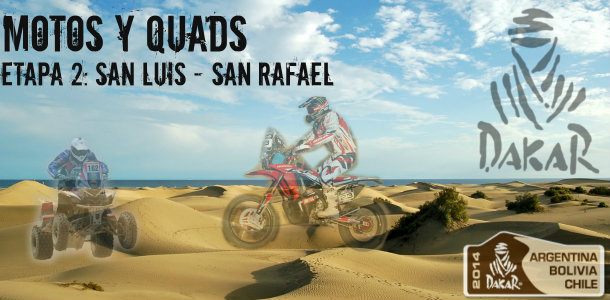 Dakar 2014: etapa 2: San Luis – San Rafael (Motos y Quads)