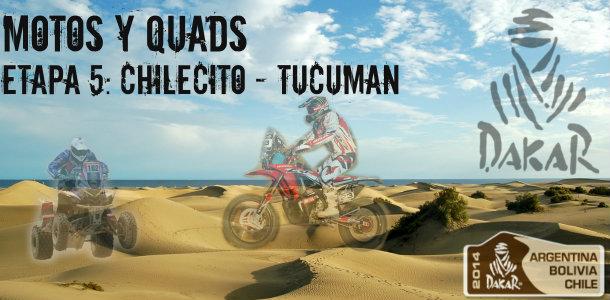 Dakar 2014: etapa 5: Chilecito – Tucuman (Motos y Quads)
