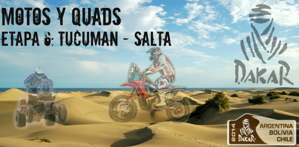 Dakar 2014: etapa 6: Tucuman – Salta (motos y quads)