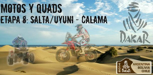 Dakar 2014: etapa 8: uyuni – calama (motos y quads)
